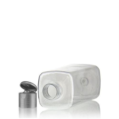 """300ml PET-flaske """"Karl"""" sølv, med klaplåg"""