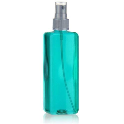 """300ml bottiglia PET """"Carlo"""" colore argento con erogatore spray"""
