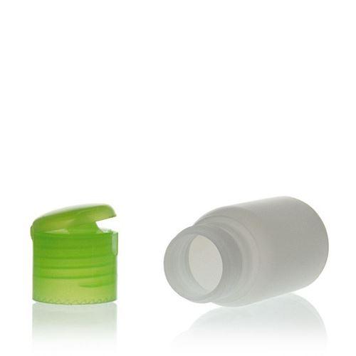 """30ml HDPE-Flasche """"Tuffy"""" natur/grün mit Klappscharnier"""