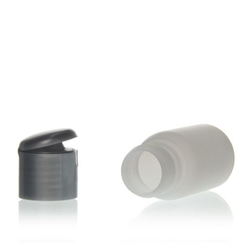 """30ml HDPE bottle """"Tuffy"""" natural/silver with flip top closure"""