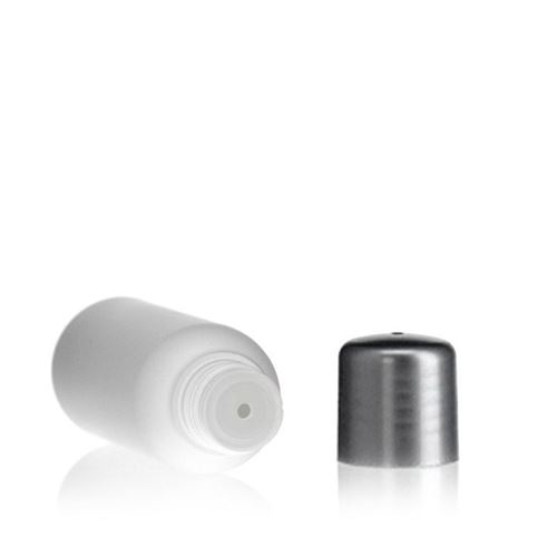 """30ml HDPE-flaske """"Tuffy"""" natur/sølv med sprøjteindsats"""