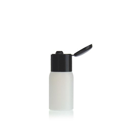 "30ml HDPE-flaske ""Tuffy"" natur/sort, med klaplåg"