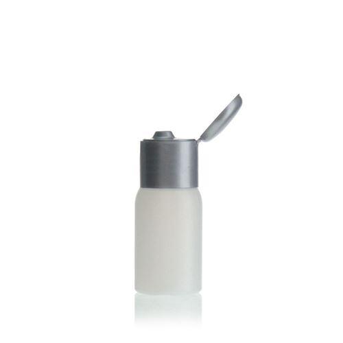 """30ml HDPE-fles """"Tuffy"""" natuur/zilver met scharnier dop"""