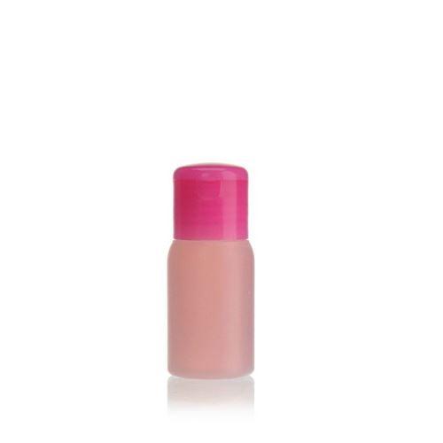"30ml botella HDPE ""Tuffy"" natural/rosa con tapón bisagra"