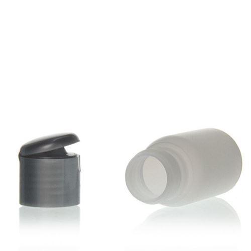 """30ml bottiglia HDPE """"Tuffy"""" natura/argento con tappo Flip top"""
