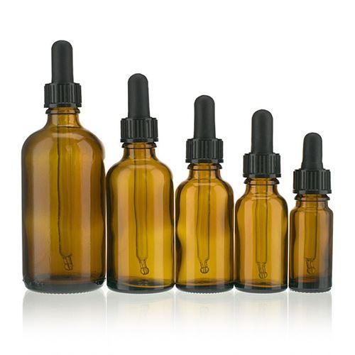 30ml bottiglia in vetro per medicina marrone con nero pipetta