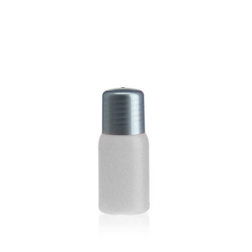 """30ml bouteille HDPE """"Tuffy"""" nature/argenté avec doseur"""