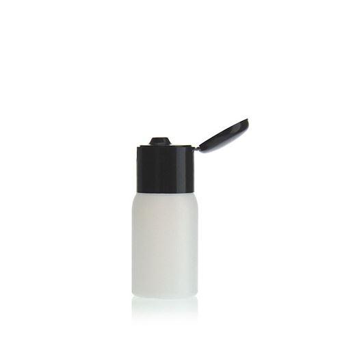 """30ml bouteille HDPE """"Tuffy"""" nature/noir avec couvercle à clapet"""