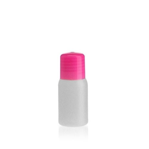 """30ml bouteille HDPE """"Tuffy"""" nature/rose avec doseur"""