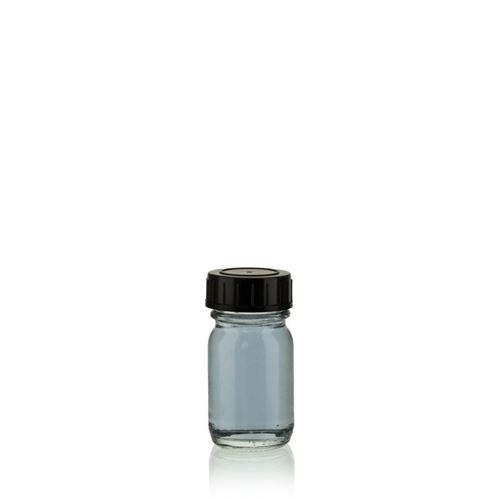 30ml flaske i klart glas, med bred hals