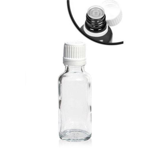 30ml gennemsigtig medicinflaske med dråbetæller