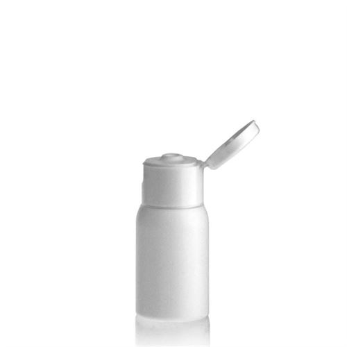 "30ml HDPE-flaske ""Tuffy"" hvid, med klaplåg"