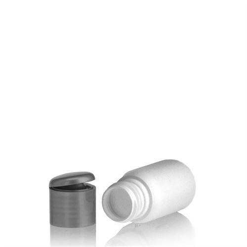 """30ml HDPE-fles """"Tuffy"""" zilver met scharnier dop"""