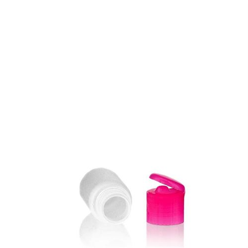 "30ml HDPE bottle ""Tuffy"" with pink flip top closure"
