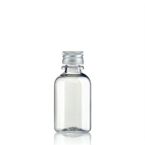"""30ml PET-flaske """"Easy Living"""", med aluminiumskruelåg, klar"""