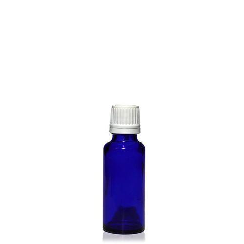30ml blå medicinflaske, med orginality-lock