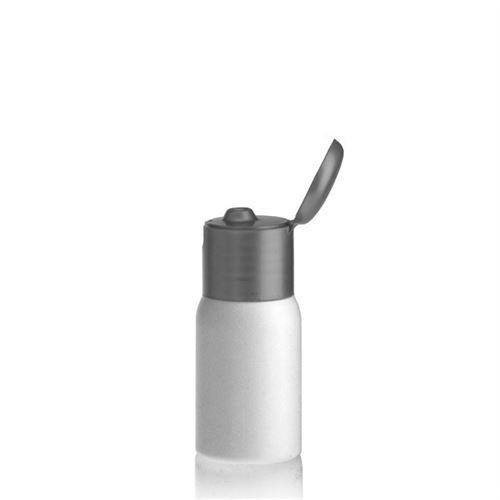 """30ml botella HDPE """"Tuffy"""" argénteo con tapón bisagra"""