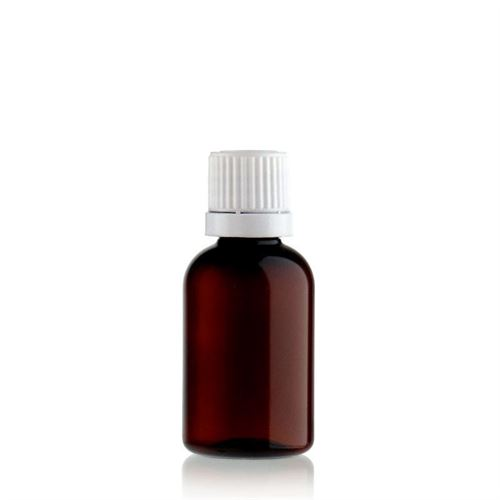 "30ml brown PET bottle ""Easy Living"" with white tamper-evident closure"