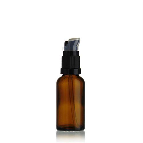 30ml bottiglia per medicina marrone con pompa a lozione nera