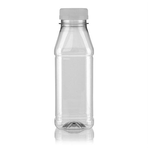 """330ml Bottiglia PET a collo largo """"Milk and Juice Carree"""" bianco"""