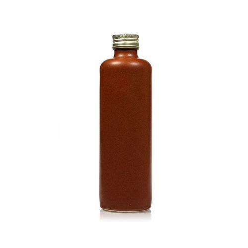 "350ml steengoedflesse met schroefdeksel ""rood-bruin"""