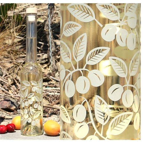 """350 ml flaska med etsat motiv """"Körsbärsplommon"""""""