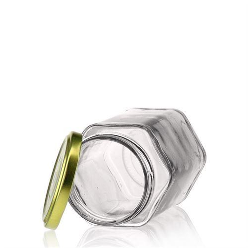 385ml vasetto in vetro esagonale con tappo a vite Twist Off 63