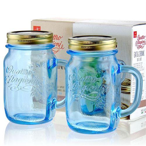 """415ml Henkelglas """"4 Jahreszeiten"""" azurblau 2er-Set"""