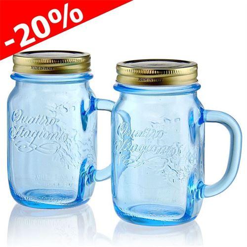 """415ml glas med hank """"4 årstider"""", azurblå, 2 stk."""