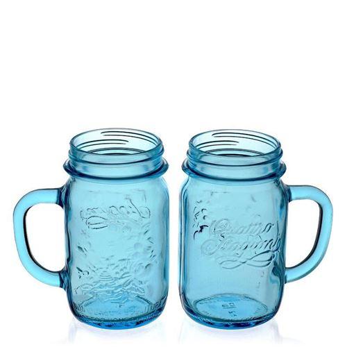 "415ml glas med hank ""Quattro Stagioni"", azurblå, 2 stk."