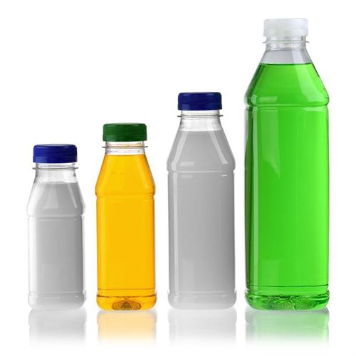 "500ml Botella PET con gollete ancho ""Milk and Juice Carree"" azul"