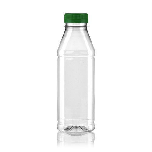 "500ml Bottiglia PET a collo largo ""Milk and Juice Carree"" verde"