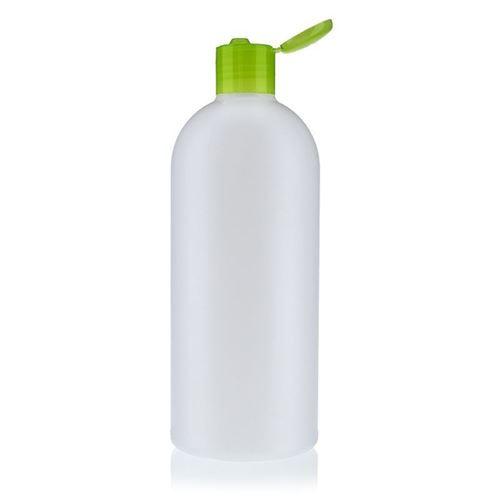 """500ml HDPE-flaske """"Tuffy"""" natur/grøn, med klaplåg"""