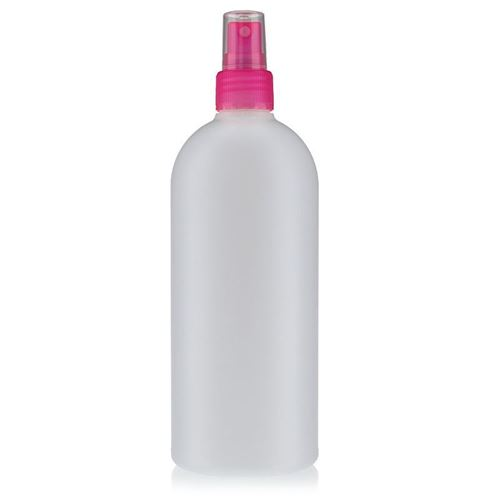 "500ml HDPE-flaske ""Tuffy"" natur/lyserød med sprayhoved"