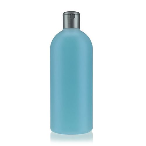 "500ml HDPE-flaske ""Tuffy"" natur/sølv, med klaplåg"