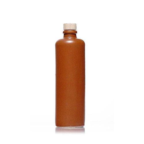 500ml Keramikflaske, munding med korkprop, kastanje