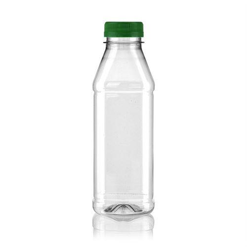 """500ml PET flaske med bred hals """"Milk and Juice Carree"""" grøn"""