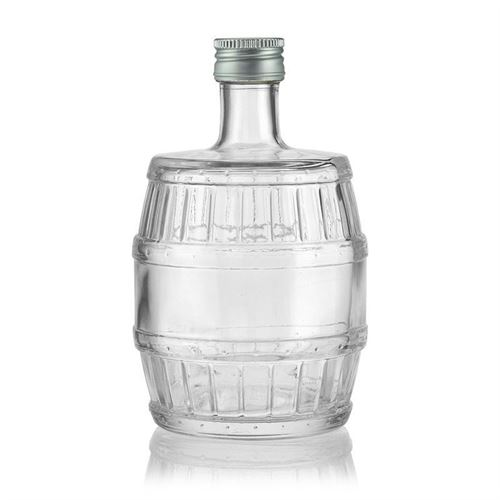 "500ml botella de vidrio transparente ""Barril"""