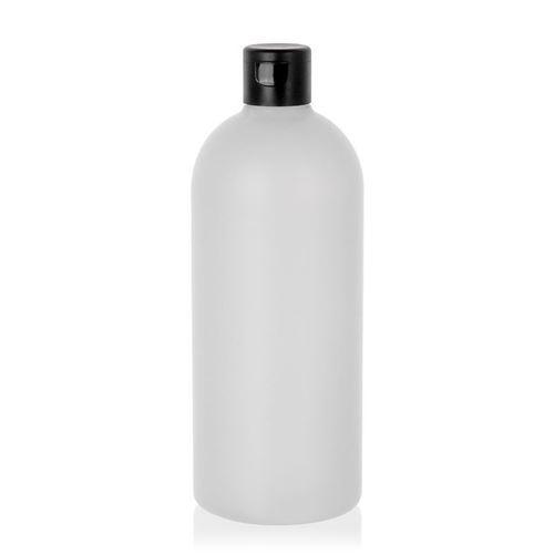 """500ml bouteille HDPE """"Tuffy"""" nature/noir avec couvercle à clapet"""