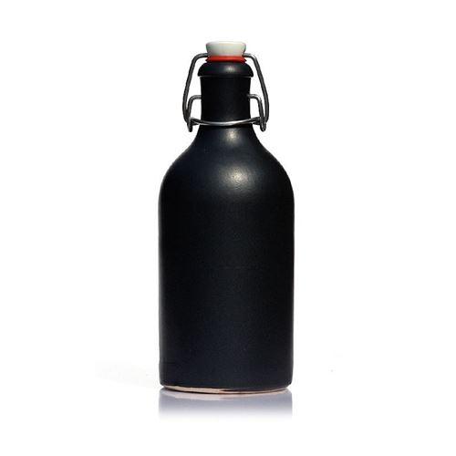 """500ml Bottiglia in Ceramica con chiusura meccanica """"nero-matto"""""""