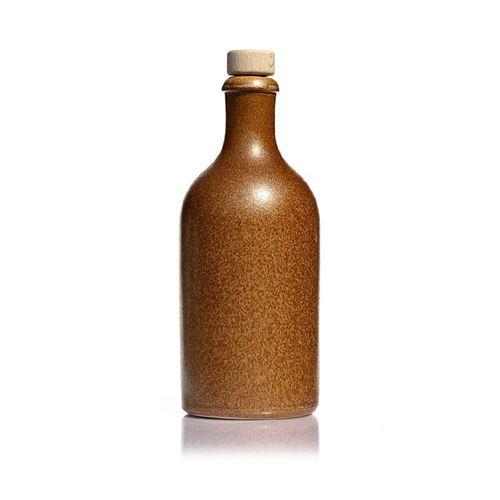 """500ml Bottiglia in Ceramica con tappo in sughero """"marrone-cristallo"""""""