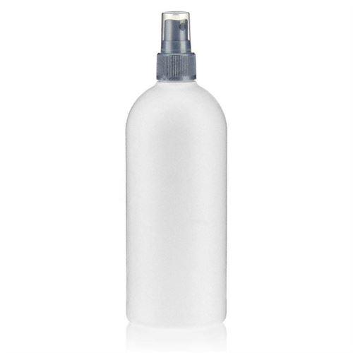 """500ml HDPE-flaske """"Tuffy"""" sølv med sprayhoved"""