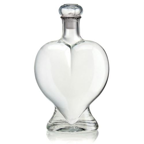 "500ml botella de vidrio transparente ""Corazón"""