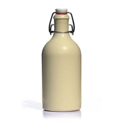 """500ml bouteille en grès fermeture mécanique """"blanc-brillant"""""""