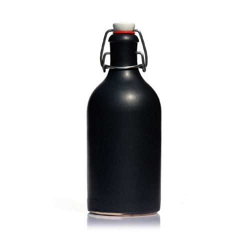 """500ml bouteille en grès fermeture mécanique """"noir-mat"""""""