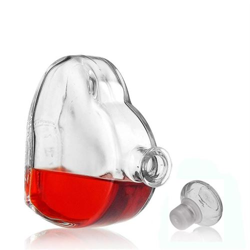 "500ml flaske i klart glas ""Stort hjerte"""