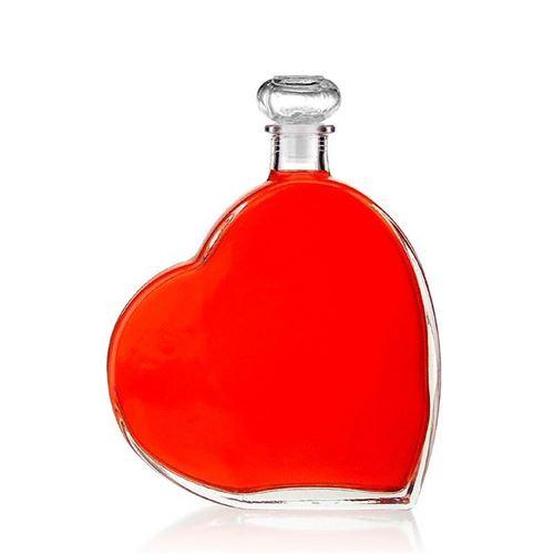 """500ml glazen fles clear """"groot hart"""""""
