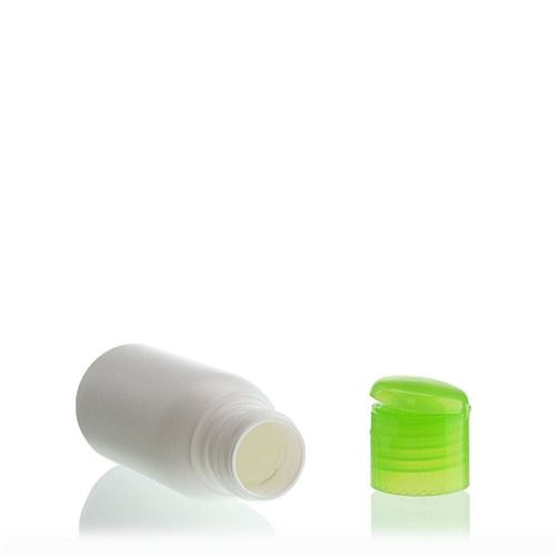 "50ml HDPE bottle ""Tuffy"" with green flip top closure"