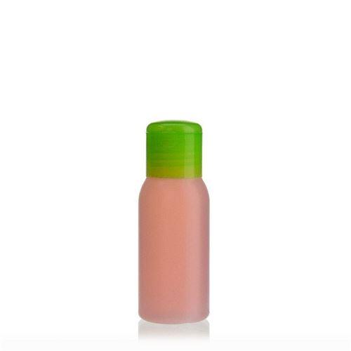 """50ml HDPE-flaske """"Tuffy"""" natur/grøn, med klaplåg"""