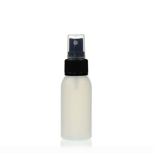 "50ml HDPE-flaske ""Tuffy"" natur/sort med sprayhoved"